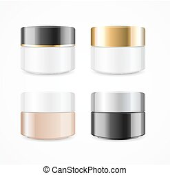 Realistic Cream Can Cosmetic Product Set. Vector - Realistic...