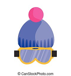 Skiing, snowboarding mask, goggles, eyewear and knitted beanie hat