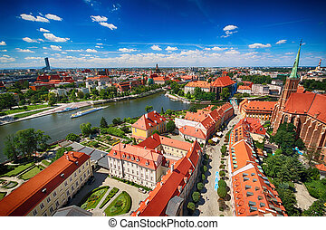 WROCLAW, POLAND - JULY 29, 2017: Aerial view of Wroclaw. Old...