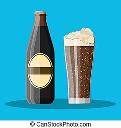 Bottle of dark stout beer with glass. Beer alcohol drink....