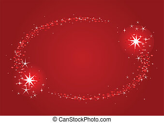 Shooting stars Christmas frame in a starry sky