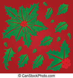 Holly Leaves and Berries. Single Leaves and Leaf Bunches...