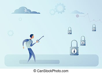 Business Man Hold Key Choosing Lock Opportunity Decision Concept