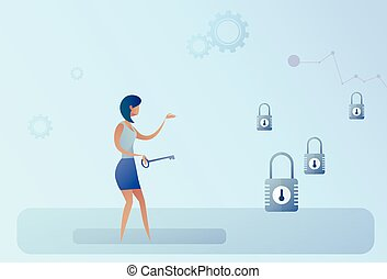 Business Woman Hold Key Choosing Lock Opportunity Decision Concept
