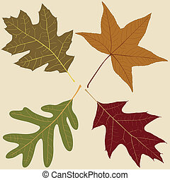 Four Leaves - Four Fall Leaves