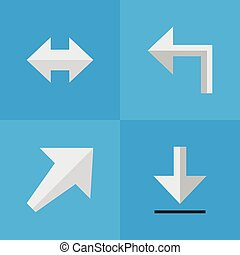 Vector Illustration Set Of Simple Arrows Icons. Elements Loading, Orientation, Everyway And Other Synonyms Everyway, Southwest And Southwestward.