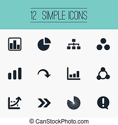 Vector Illustration Set Of Simple Chart Icons. Elements Line...