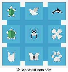 Vector Illustration Set Of Simple Zoo Icons. Elements...