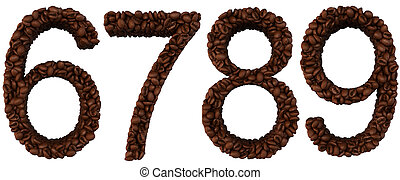 Coffee font 6 7 8 9 numerals isolated over white