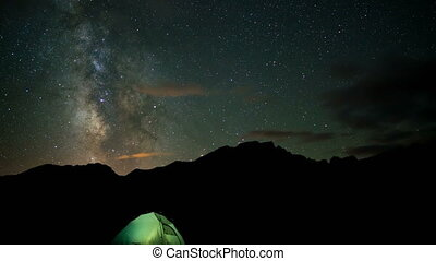Stars, Milky Way Galaxy over Camp Tent, time lapse
