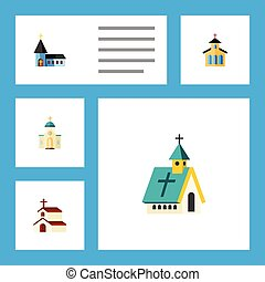 Flat Icon Building Set Of Architecture, Christian, Religious And Other Vector Objects. Also Includes Architecture, Faith, Building Elements.