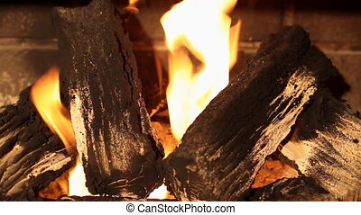 Fireplace - Wood Burning Fireplace With Flames Flickering