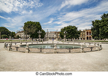Prato della Valle, Padua - PADUA - JULY 2: Fountain in the...