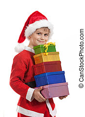 Boy holding a christmas gift isolated on white background