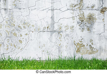 Rough flaking plaster wall - Background of gray crannied...