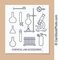 Chemical lab accessories line icons on notebook page, vector...