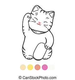 Cute kitten with toy coloring page