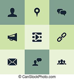 Vector Illustration Set Of Simple Social Media Icons. Elements Team, Profile, Media Control And Other Synonyms Control, Pin And Loudspeaker.