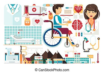 Vector set isolated design element medicine health care of...