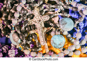Many Colorful Rosary Beads With Silver Crucifix - Many...