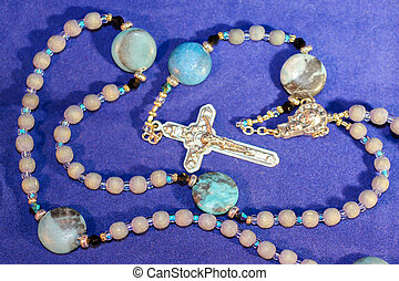 Colorful Large Rosary Beads With Silver Crucifix - Many...
