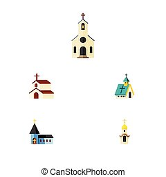 Flat Icon Building Set Of Structure, Religion, Building And Other Vector Objects. Also Includes Faith, Religious, Religion Elements.