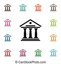 Isolated Courthouse Icon. Theater Vector Element Can Be Used For Academy, Courthouse, Theater Design Concept.