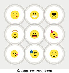 Flat Icon Emoji Set Of Delicious Food, Party Time Emoticon, Laugh And Other Vector Objects. Also Includes Savoring, Angel, Emoticon Elements.