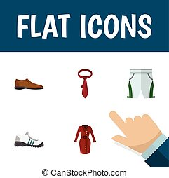 Flat Icon Dress Set Of Clothes, Trunks Cloth, Cravat And Other Vector Objects. Also Includes Trunks, Cravat, Dress Elements.