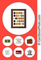 Flat Icon Incoming Set Of Payment, Counter, Greenback And Other Vector Objects. Also Includes Bank, Architecture, Diagram Elements.