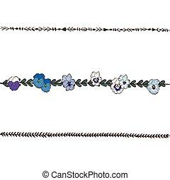 Doodle floral line with blue and violet pansies flowers. Flower design elements, floral border. Vector illustration.
