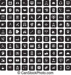 100 support icons set black