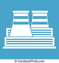Power station icon white isolated on blue background vector...
