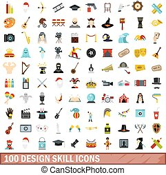 100 design skill icons set, flat style - 100 design skill...