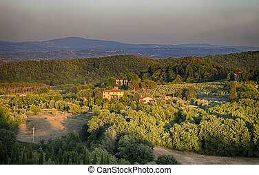 Rural countryside landscape in Tuscany, Italy