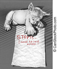 Puppies sleeping and note to friend Stop I need to rest -...
