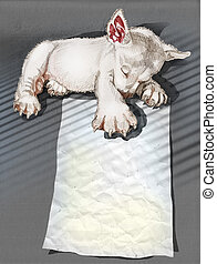 Puppies sleeping hand drawn and clipping paths - Puppies...