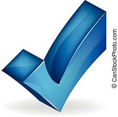 3D blue check mark vector image logo