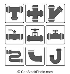 Water pipes icon set black & white. Vector illustration