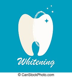 Clean and dirty tooth before and after whitening treatment....