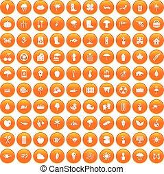 100 garden stuff icons set orange - 100 garden stuff icons...