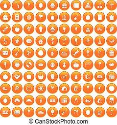 100 fruit party icons set orange