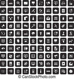 100 telecommunication icons set black - 100...