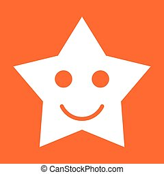 Smiling star white color icon .