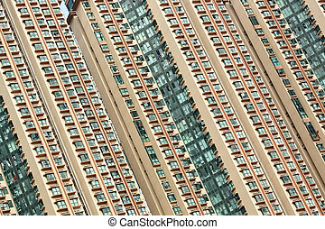 crowded apartment block