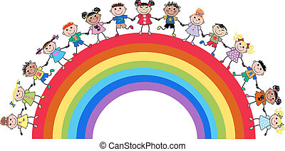 ethnic mixed kids on a rainbow
