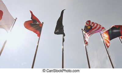 View of national flags of Southeast Asia countries Brunei...