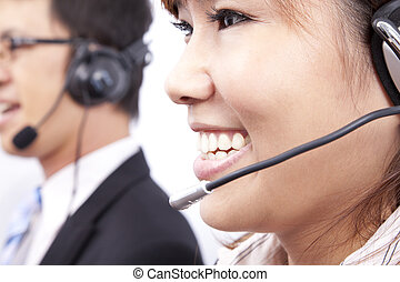 customer support team with  smiling businesswoman in an office