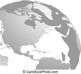 3D planet Earth globe. Transparent sphere with grey land...