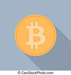 Golden bitcoins icon for cryptocurrency, virtual currency,...